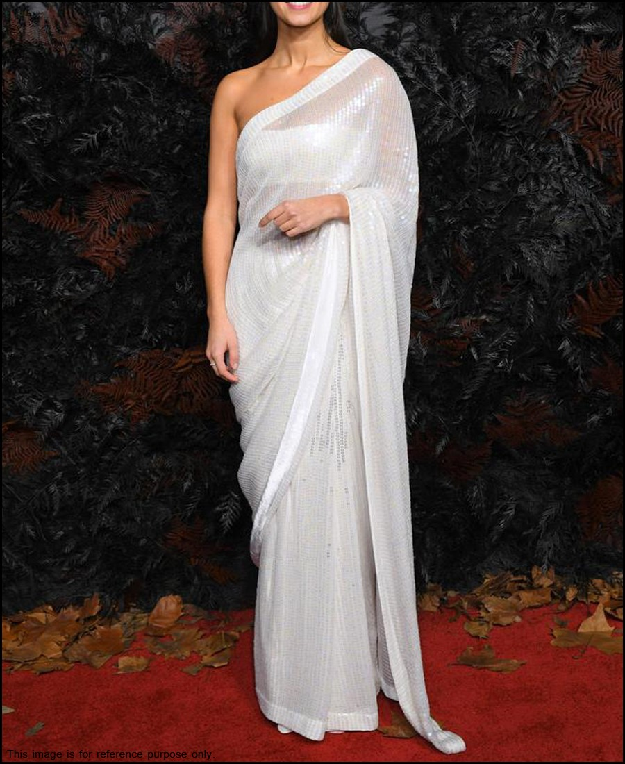 Vf White Faux Georgette Sequence Work Saree Party Wear Sarees Sarees Indian
